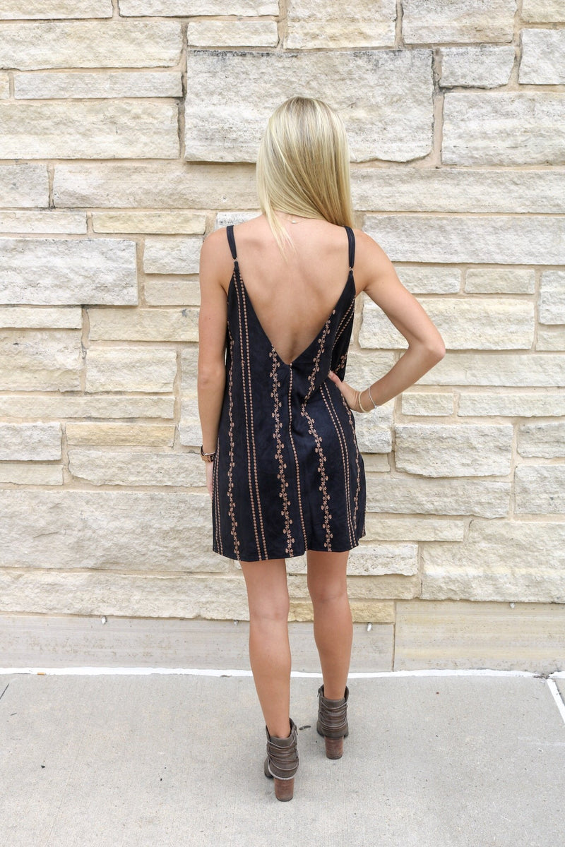 Suede Embroidered Dress Dress ~