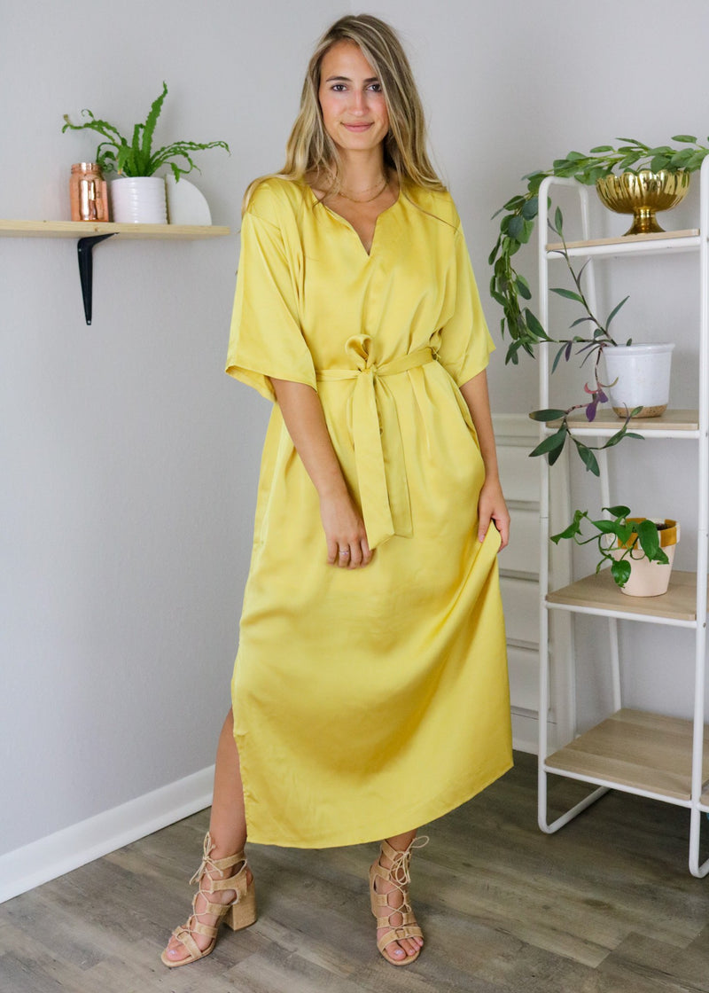 Sun Kissed Satin Midi Dress Dress ~