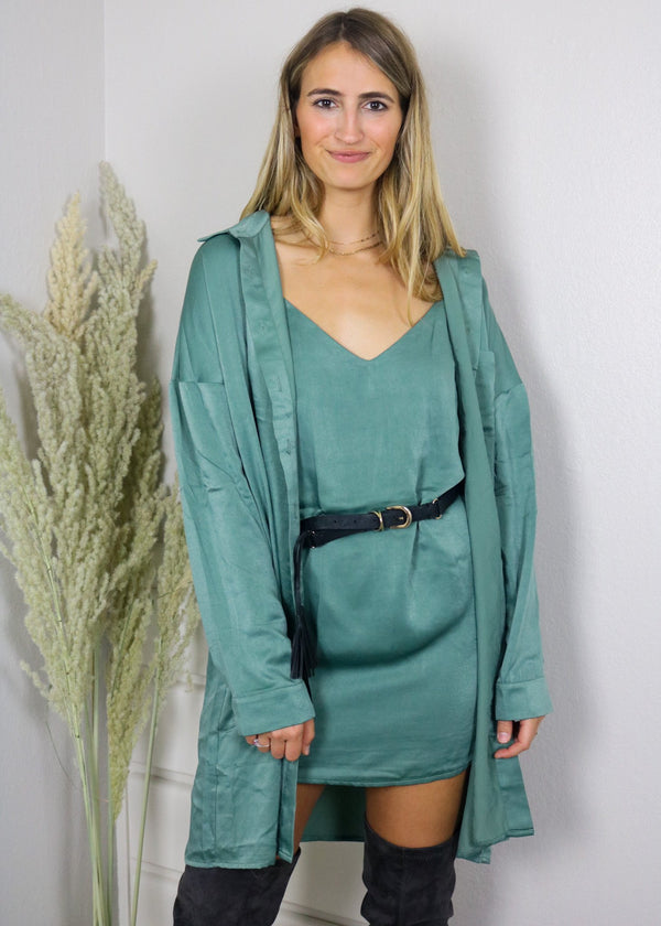 Swooning Emerald Satin Shirt + Dress Set Dress ~