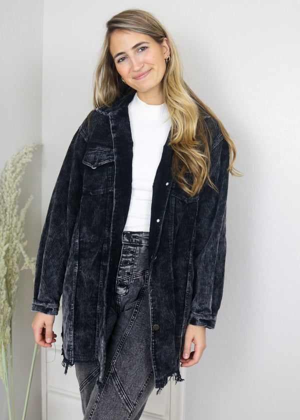 Tara Black Long Corduroy Jacket jacket pol