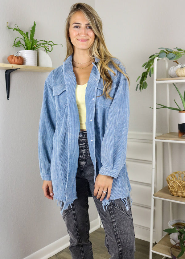 Tara Blue Long Corduroy Jacket Jacket ~