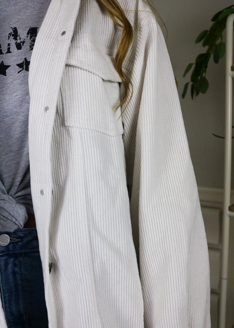 Tara White Long Corduroy Jacket Jacket ~