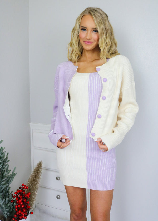 Twiggy Lilac Colorblocked Cropped Sweater Sweater Emory Park