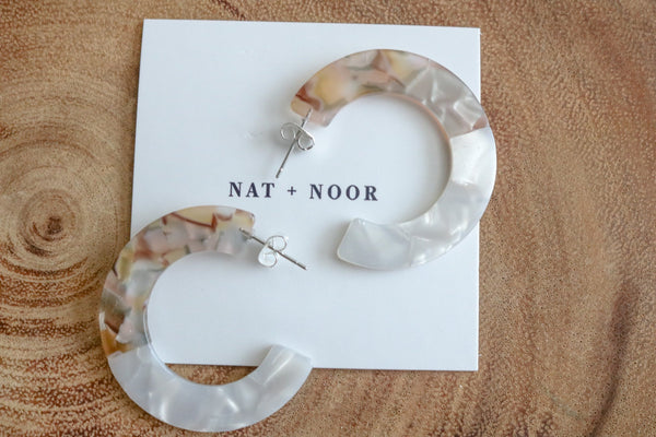 Two Tone White Hoops Earrings Nat + Noor