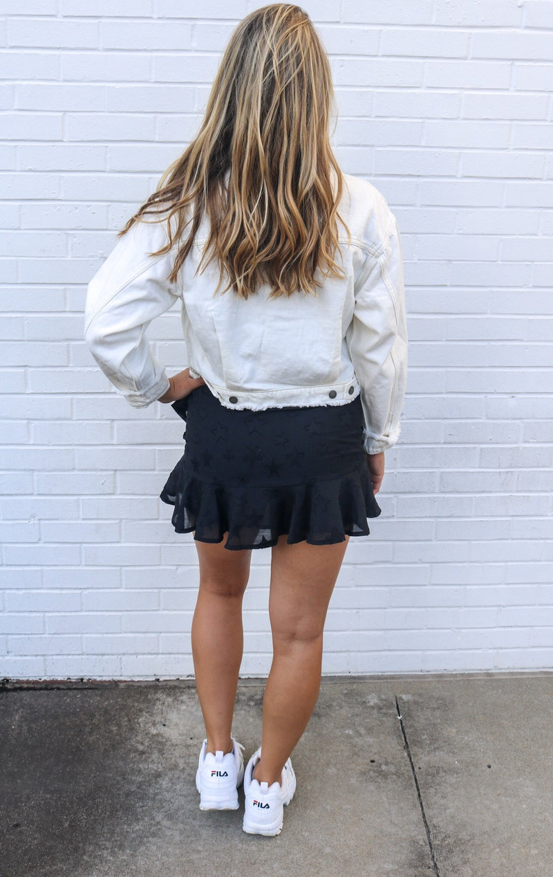 White Distressed Denim Jacket Jacket ~
