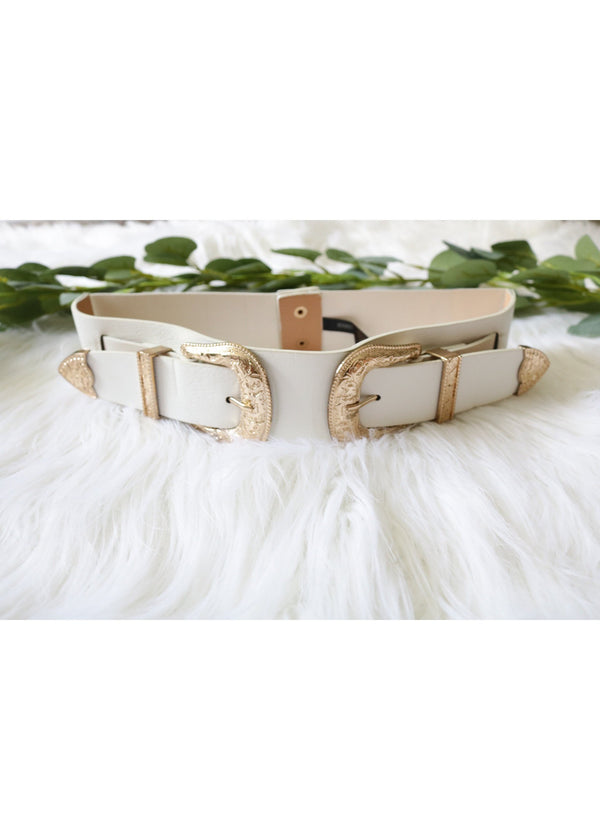 White Double Western Belt Belt ~