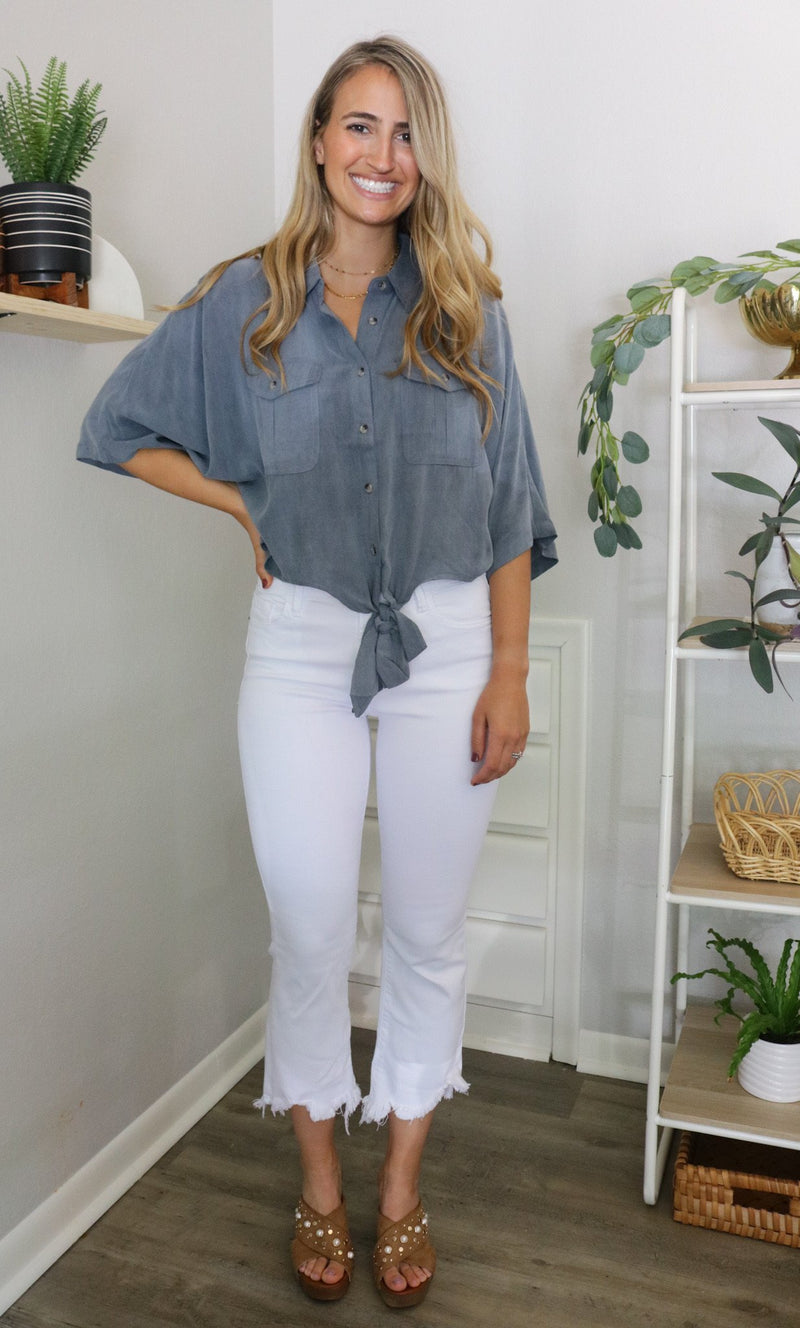 White High Waisted Cropped Flare Jeans Hidden Denim