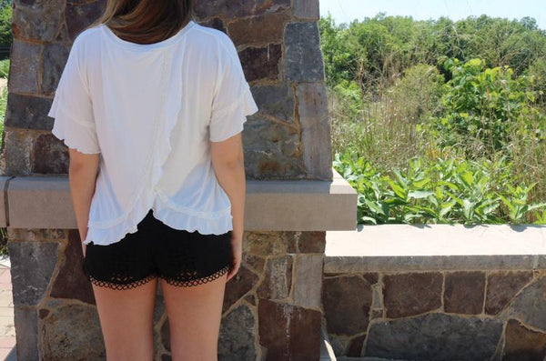 White Ruffle Tee Tops ~