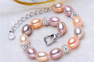 Impressive Natural Freshwater Pearl Jewelry Colorful Beads Necklace Bracelet Charm set - AEIGARTZ.COM