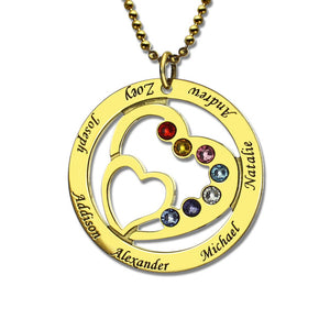 My Family Personalized Silver Birthstone Necklace