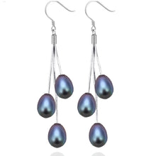 Water drop freshwater pearls and 925 sterling silver earrings 5 colors - AEIGARTZ.COM
