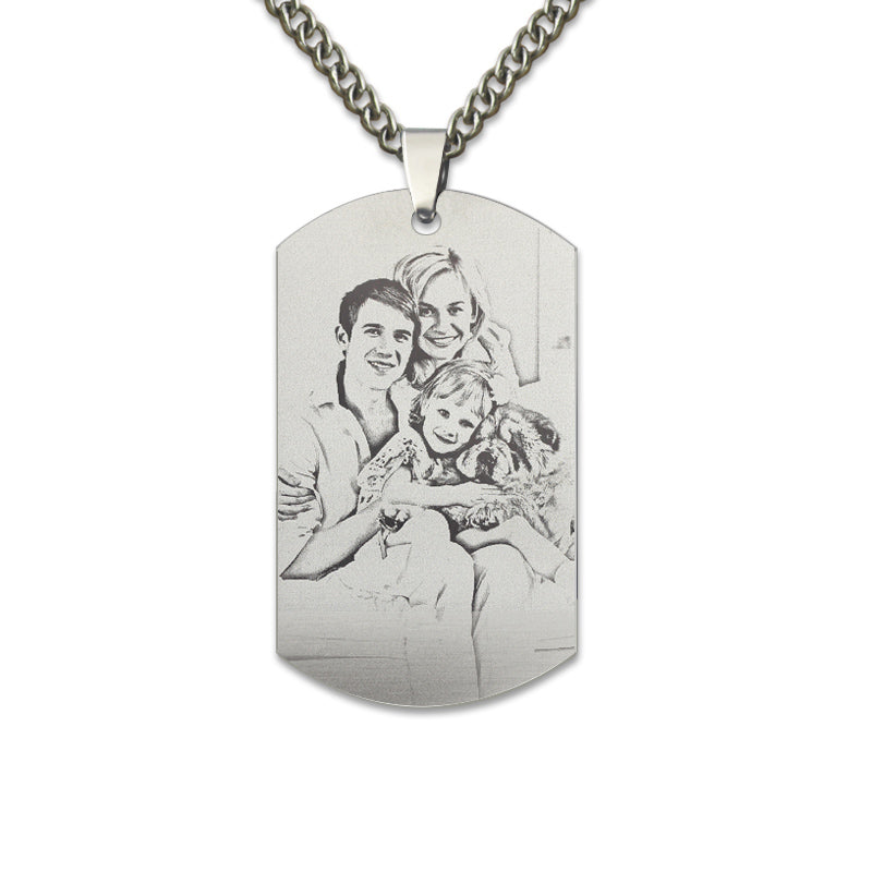 My family Titanium Steel Picture Engrave Necklace