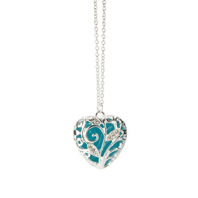 Magical Aqua Blue Heart (Glow In The Dark) Pendant - AEIGARTZ.COM