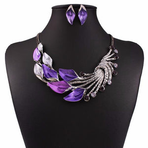 Elegant Women's Purple Peacock Enamel Festoon Bib Necklace Earrings Set - AEIGARTZ.COM