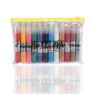 (12 Colors UV Gel Acrylic Tips) 3D Nail Painting & Polish Pen Set - AEIGARTZ.COM