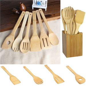 (6pcs/set) Non toxic Bamboo Spoon Spatula Kitchen Set - AEIGARTZ.COM