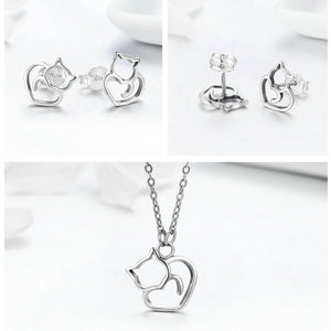 (100% 925 Sterling Silver) Lovely Pussy Cat Jewelry, Necklace and Earrings Set - AEIGARTZ.COM