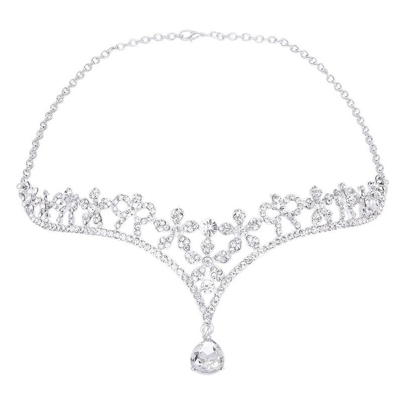Wedding Women's Crystal Bridal Flower Decor Crown Headband Tiara Headdress - AEIGARTZ.COM