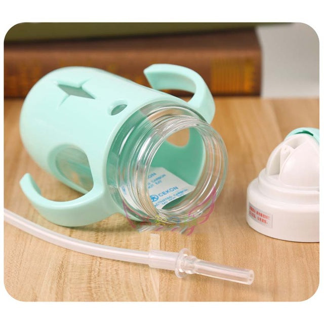 Cute Animal Glass Water Bottle with Straw for Kids Baby Children Leakproof Sippy Kettle 260ml - AEIGARTZ.COM