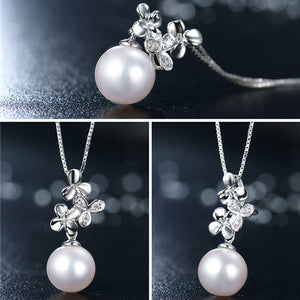 Freshwater Pearl Antlers Pendant Necklace S925 Sterling Silver Lovely flower Charm - AEIGARTZ.COM
