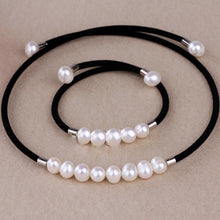 Real pearl necklace bracelet & bangle freshwater pearls and garnet perfect match - AEIGARTZ.COM