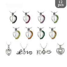 (12pcs/set) Love Theme Heart with cage pendants & silver lockets - AEIGARTZ.COM