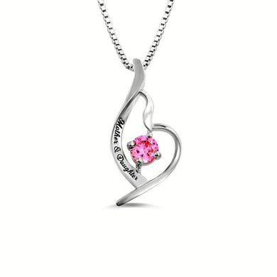 Personalized Mother & Daughter Birthstone 925 Sliver Necklace Heart Pendant