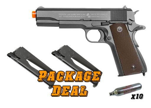 Full Metal Colt 1911 CO2 Blowback Airsoft Pistol Combo Package