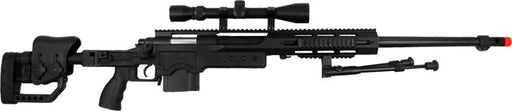 WELL Airsoft Spring EBR Sniper Rifle with Folding Stock, Scope, Bipod, & Quad RIS