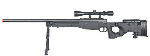 Well L96 AWP Black Bolt Action Sniper Rifle Kit with Folding Stock, Bipod, and 3-9x Scope