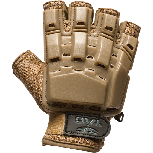 V-Tac Half Finger Armored Gloves, Tan