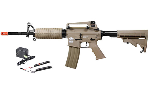 G&G Combat Machine CM16 Carbine M4 Airsoft Rifle w/ 9.6v Battery & Charger, Tan