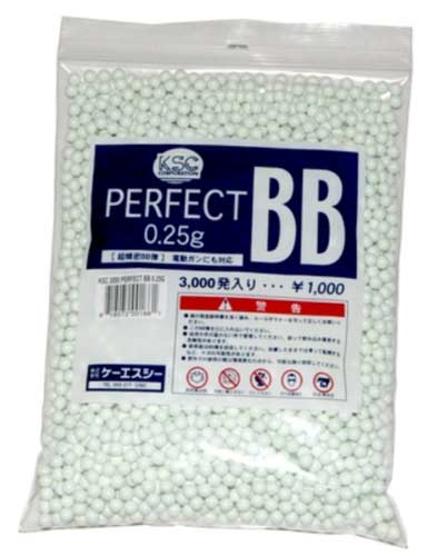 KWA/KSC Perfect 6mm Airsoft BBs, 0.25g, 3000 rds, White