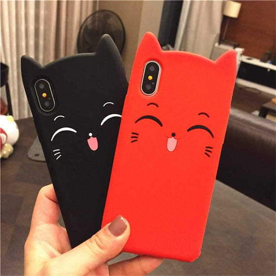 Cute Smiling Cat Soft iPhone Case - My iPhone Store