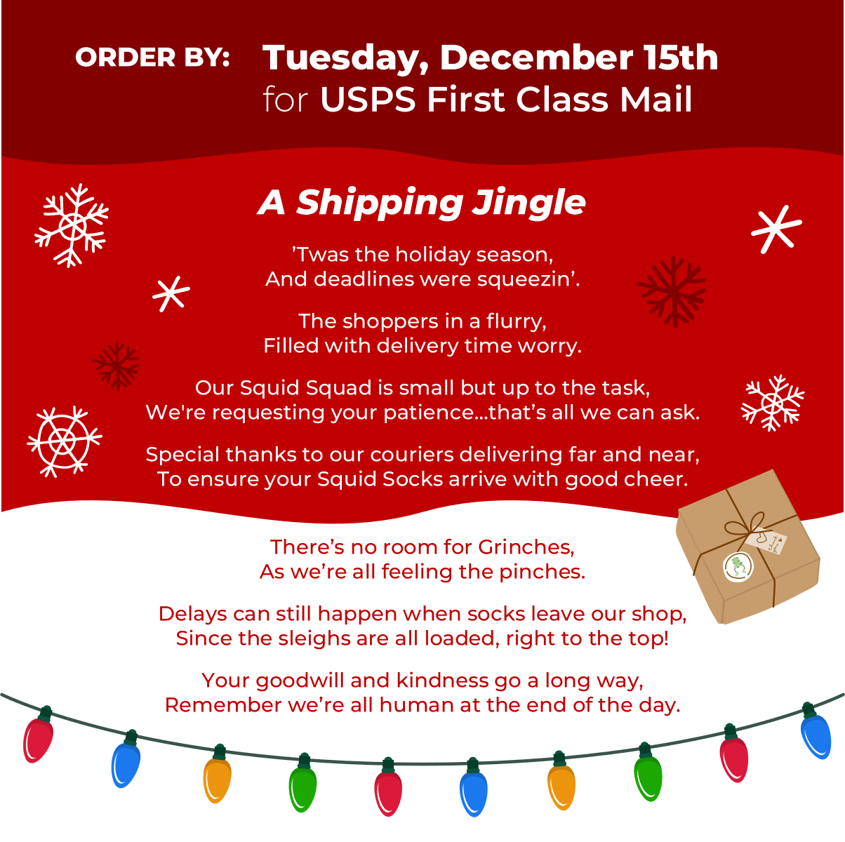 Squid Socks holiday shipping information page.