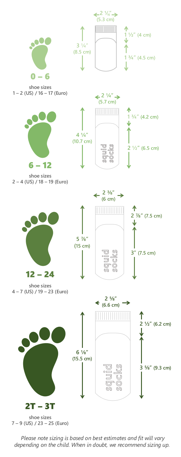 Size Chart | Squid Socks® Baby and