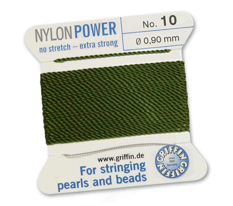 Olive Green No.10 0.9mm Nylon Knotting Cord