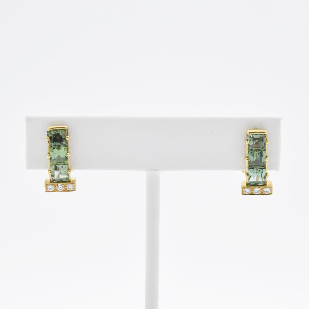14k YG Estate Tourmaline & Diamond Omega Back Clip On Earrings