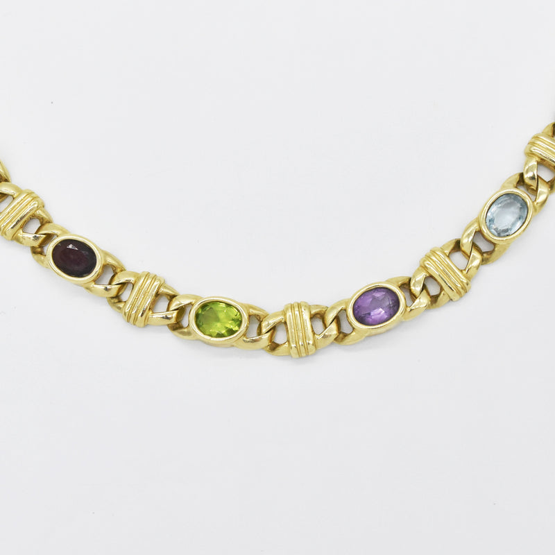 "14k YG 15"" Curb Bar Link Multi-Colored Gemstone Necklace"