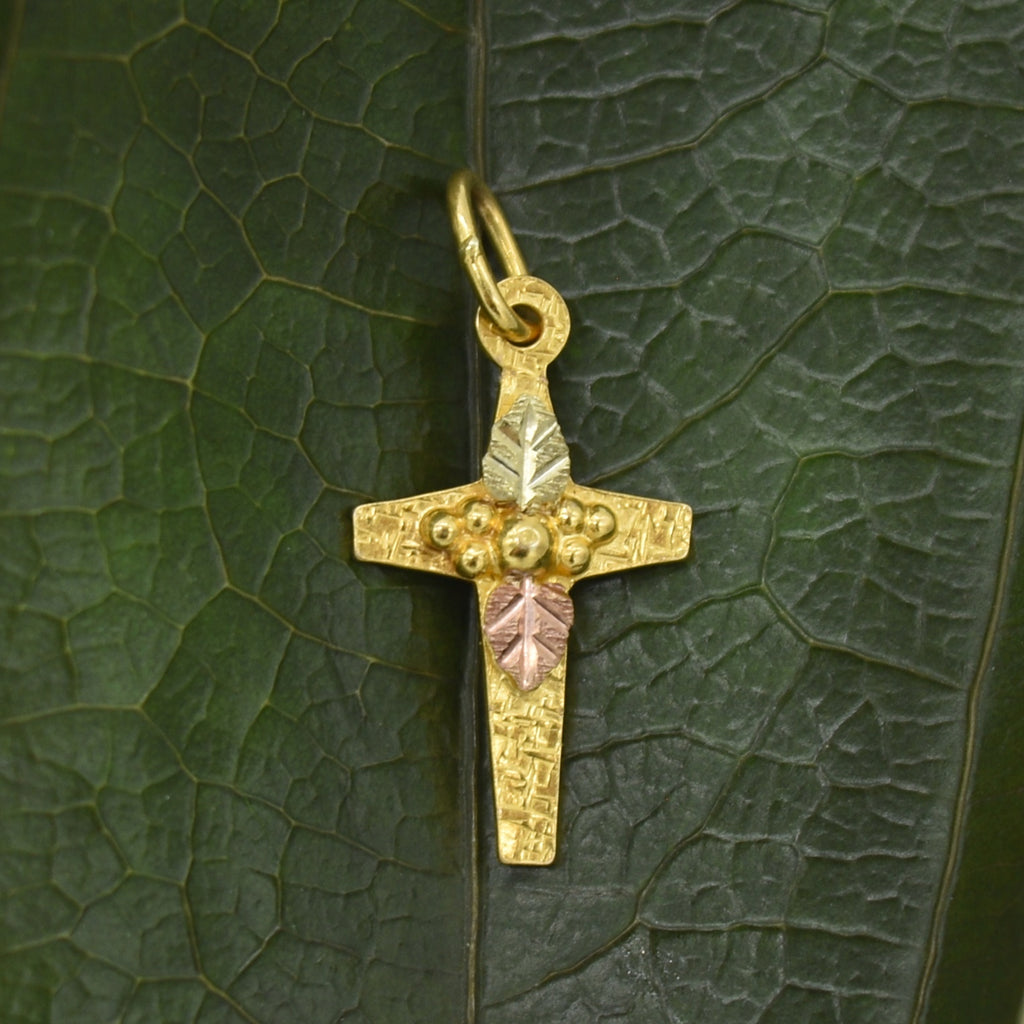 10k Tri-Colored Gold Estate Textured Cross Pendant