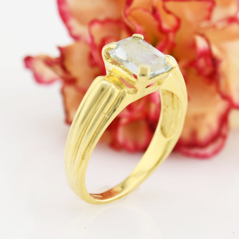 14k Yellow Gold Estate Ribbed Aquamarine Ring Size 8