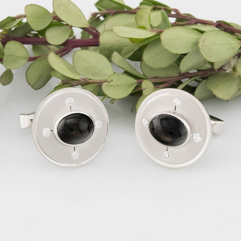 14k White Gold Estate Black Star Sapphire Diamond Cufflinks