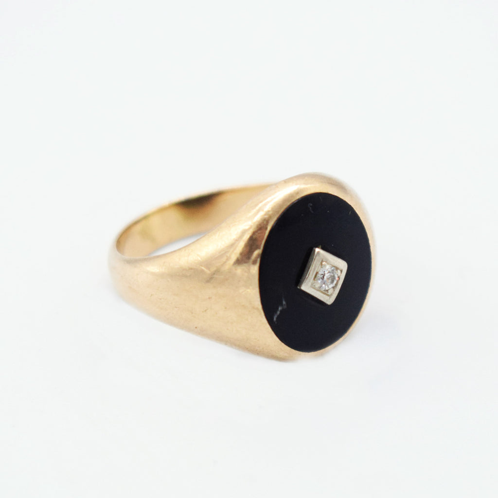 10k Yellow Gold Antique Black Onyx & Diamond Ring Size 12