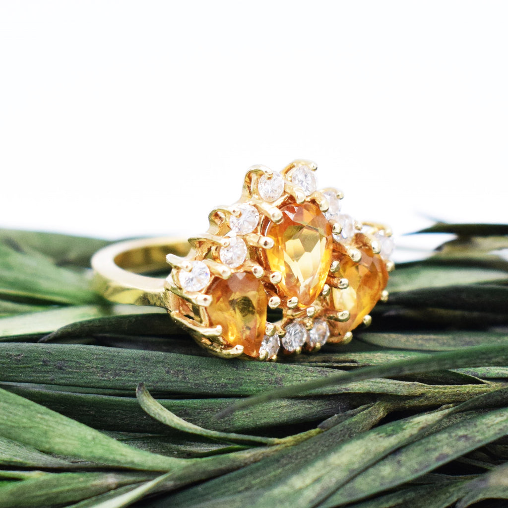 14k YG Citrine & Diamond 0.66 tcw Crown Ring Size 6.25