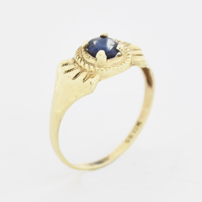 10k Yellow Gold Estate Textured Sapphire Ring Size 7