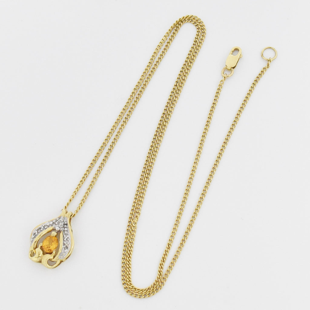 "14k Yellow Gold 20"" Curb Link Citrine & Diamond Necklace"