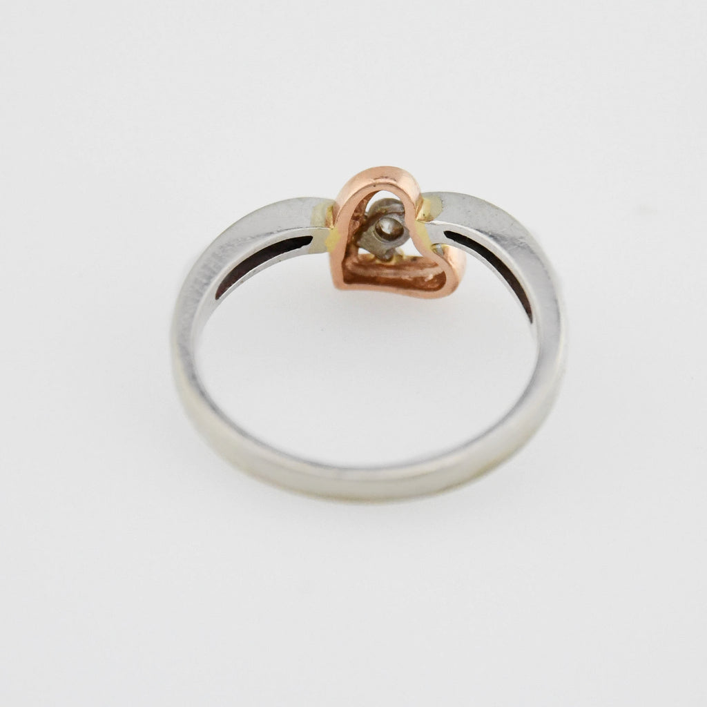 10k White & Rose Gold Estate Open Heart Diamond Ring Size 7.25