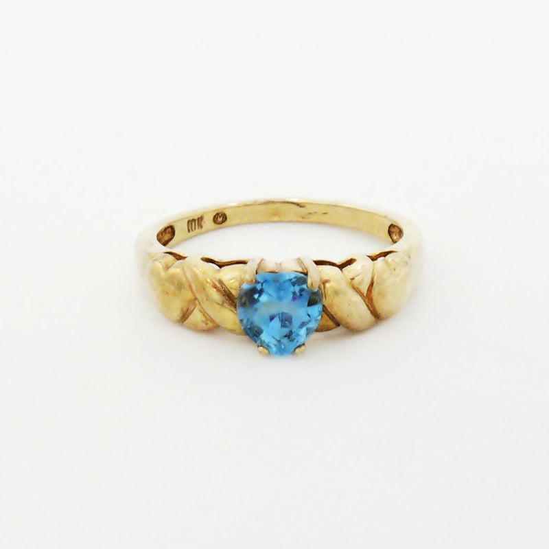 10k Yellow Gold Estate Blue Topaz Hearts & X's Band Ring Size 8