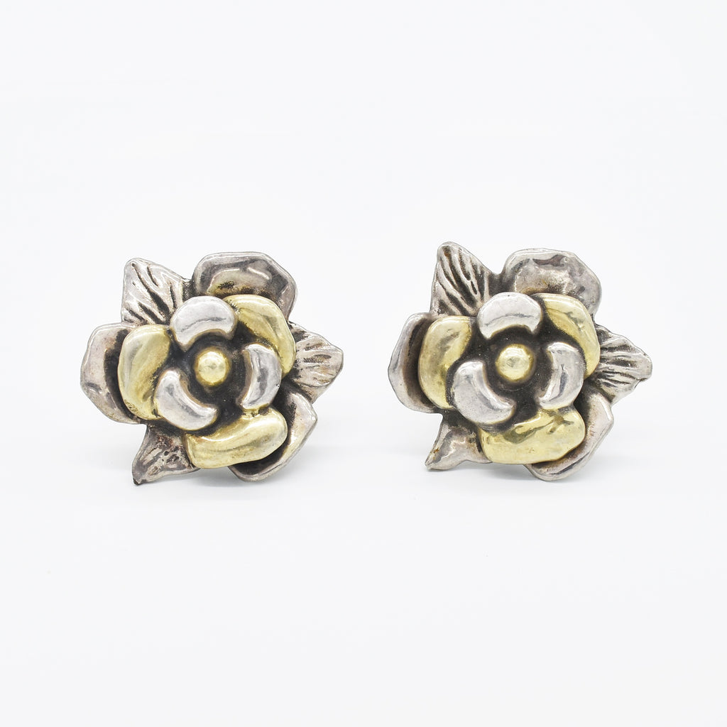 Sterling Silver 925 Estate Large Carved Flower Clip Earrings