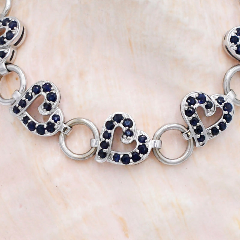 14k White Gold Estate Sapphire Heart & Circle Link Bracelet 7 1/2""